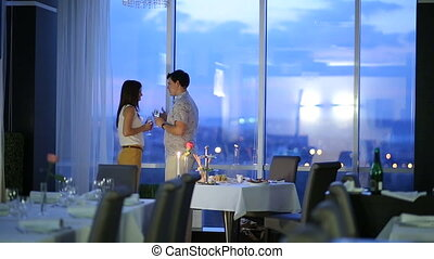Romantic Couple in Cafe