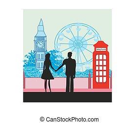 Romantic couple in London