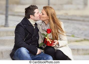 Romantic couple in love celebrating anniversary