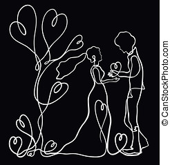 Romantic couple in love drawn by one white line on a black background
