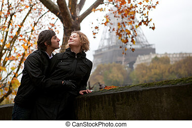 Romantic couple in Paris at fall