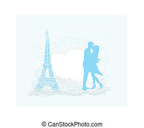 Romantic couple in Paris kissing near the Eiffel Tower Retro card