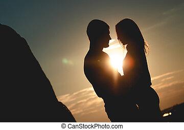 Romantic couple in park