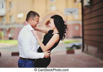 romantic couple in the city having fun