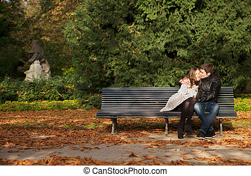 Romantic couple in the Luxembourg garden at fall. Paris, France