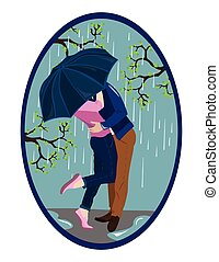 Romantic couple kissing in the rain