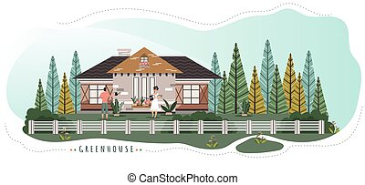Romantic couple live in cute cottage in forest, people vector illustration