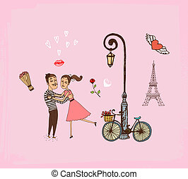 Romantic couple on a Paris vacation - Vector hand-drawn...