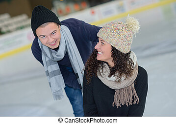 romantic couple on an icy date