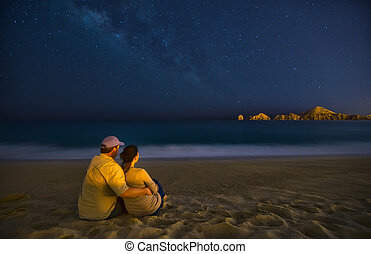 Romantic Couple On Beach At Night in Cabo San Lucas Mexico