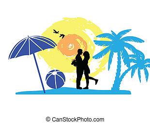 Romantic couple on the tropical beach, vector illustration