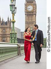Romantic Couple on Westminster Bridge by Big Ben, London, England