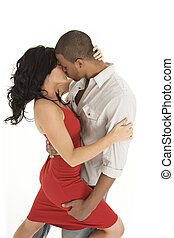 Romantic Couple - Interracial couple sharing and intimate...