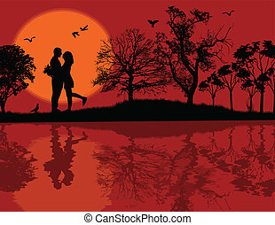 Romantic couple silhouette embrace over red sunset on a park, vector illustration