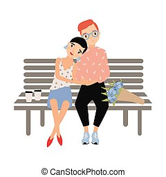Romantic couple sitting together on bench isolated on white background. Young stylish man and woman in love. Hipster boy and girl on date. Colorful vector illustration in flat cartoon style.
