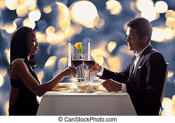 Romantic Couple Toasting Red Wine - Portrait Of Romantic...