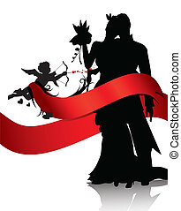 Romantic couple with cupid - Silhouettes of couple and cupid...
