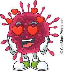Romantic COVID19 cartoon character with a falling in love face