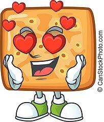 Romantic crackers cartoon character with a falling in love face