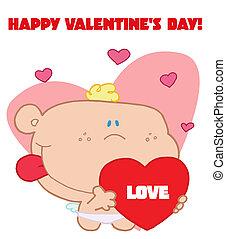Romantic Cupid With Valentine Heart