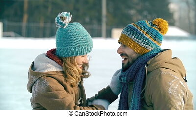 Romantic Date - Close up of sweet young couple laughing and...