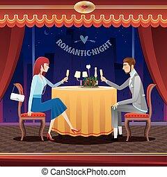 Romantic date in a restaurant - The elegant couple sitting...