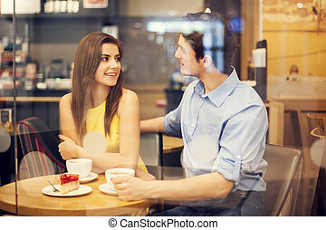 Romantic date in cafe