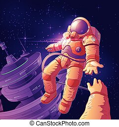 Romantic date in outer space vector concept
