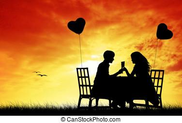 Romantic dinner at sunset