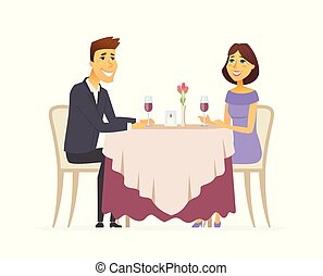 Romantic dinner - cartoon people character isolated illustration