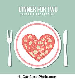 romantic dinner over green background. vector illustration