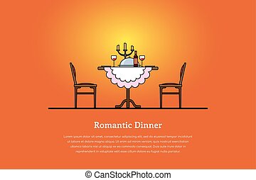 romantic dinner concept - Picture of a table with wine...