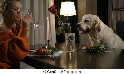 Romantic dinner for two persons female and dog pet -...