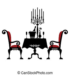 Romantic dinner for two with table and two chairs, candle ...