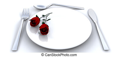 Romantic dinner - Place setting with red roses