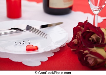 Romantic dinner. Setting for valentines day.