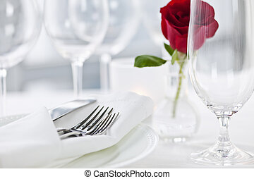 Romantic dinner setting in restaurant