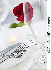 Romantic dinner setting in restaurant