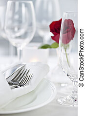 Romantic dinner setting - Romantic table setting with rose...