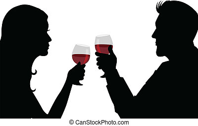 Romantic Dinner - Silhouette illustration of a man and woman...