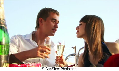 Romantic dinner - Two lovers have arranged a romantic...