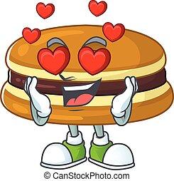Romantic dorayaki cartoon character with a falling in love face