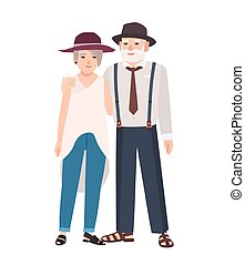 Romantic elderly couple. Pair of old cute man and woman wearing hats standing together and embracing. Grandma and grandpa. Flat male and female cartoon characters. Colorful vector illustration.