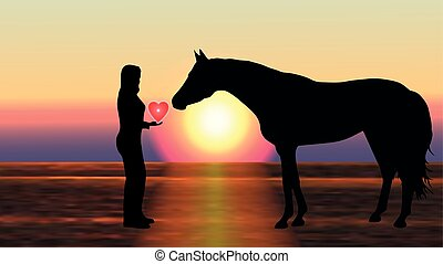 Girl gives the horse a heart at sunset - vector