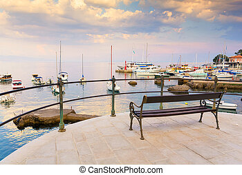 Romantic evening at promenade in Opatija, Istria, Kvarner, Croatia