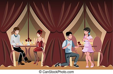 Romantic evening in a restaurant or cafe, engagement