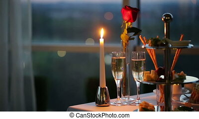Romantic Evening in Cafe