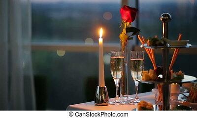 Romantic Evening in Cafe