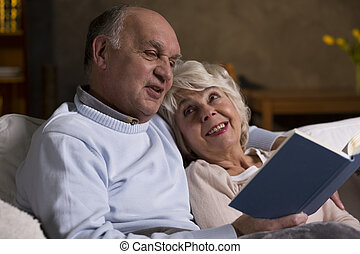 Romantic evening of an elderly couple - Peaceful elderly man...