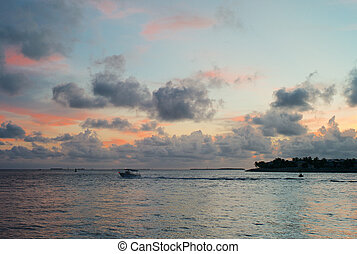 Romantic Evening Sky, Ocean and Boat in Key West, Florida